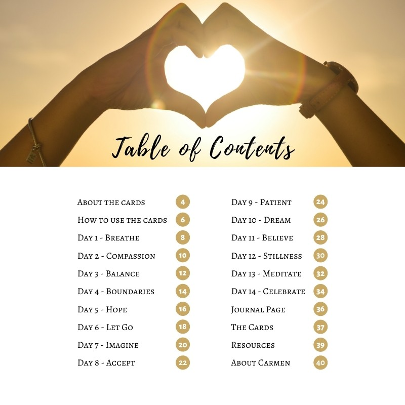 14 Days of Healing Kit - Table of Contents