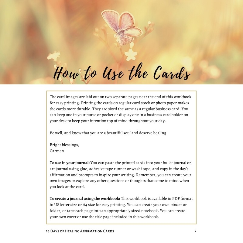 14 Days of Healing Kit - How to Use the Cards