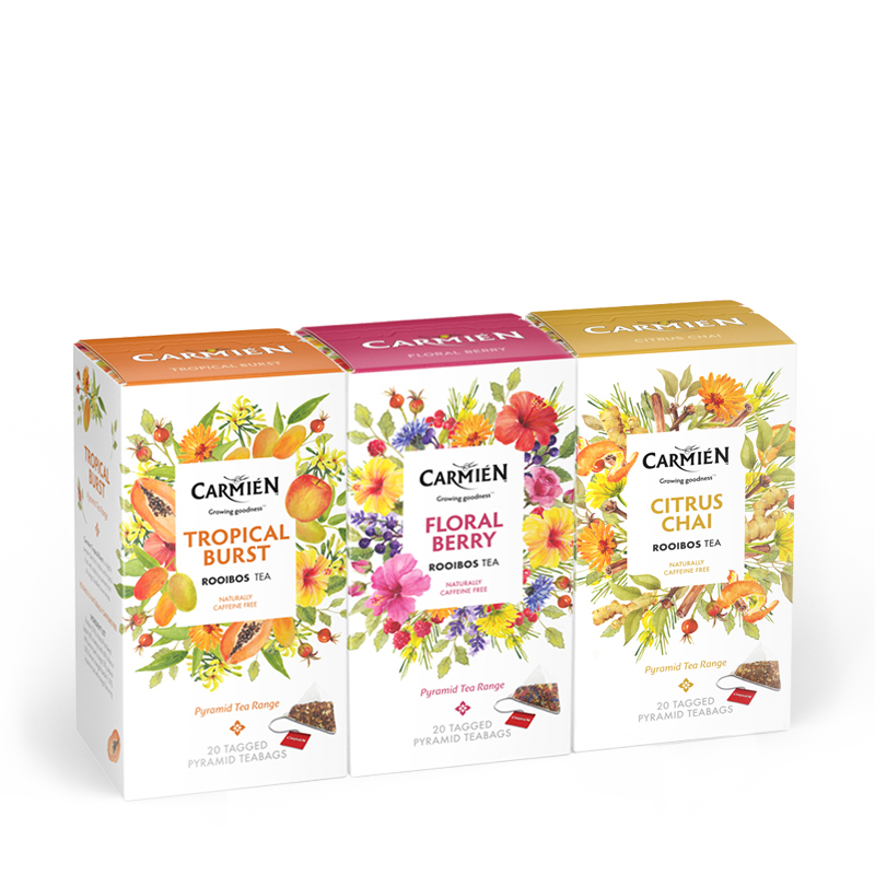 Rooibos Tea Fruit & Herbal Variety Pack, Tropical Burst, Floral Berry, Citrus Chai, 60 Count