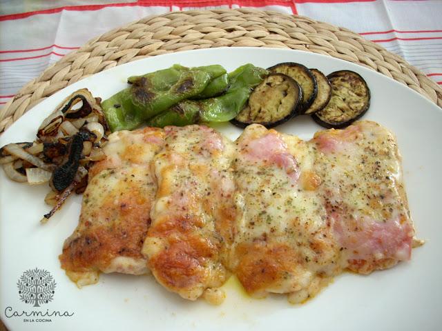 Lomo pizza con patatas y verduras