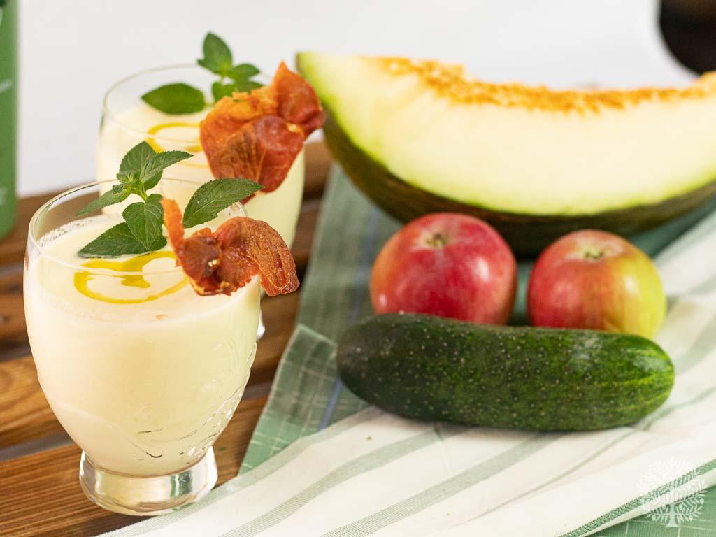 Gazpacho de melón, manzana y pepino