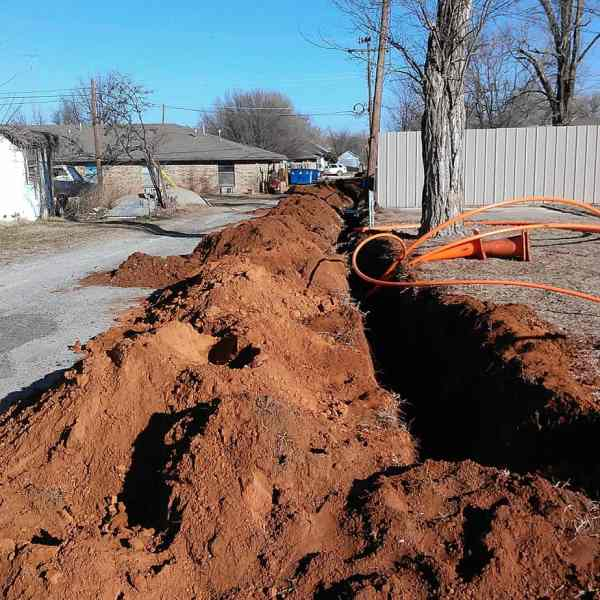 This alley behind the Carnegie Nursing Home has a huge trench cut open in order to put the new fiber cables in the ground.