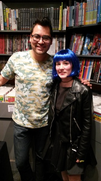 Ramona Flowers cosplay avec Brian Lee O'malley