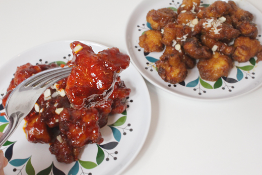 Dak gangjeong : Poulet frit coréen à la sauce épicée