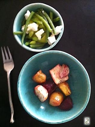 Salade haricots emadame feta, légumes racines rotis http://wp.me/p389oa-S7