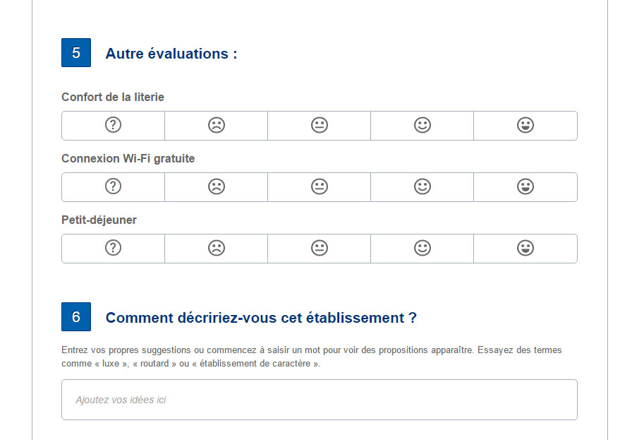 questionnaire booking