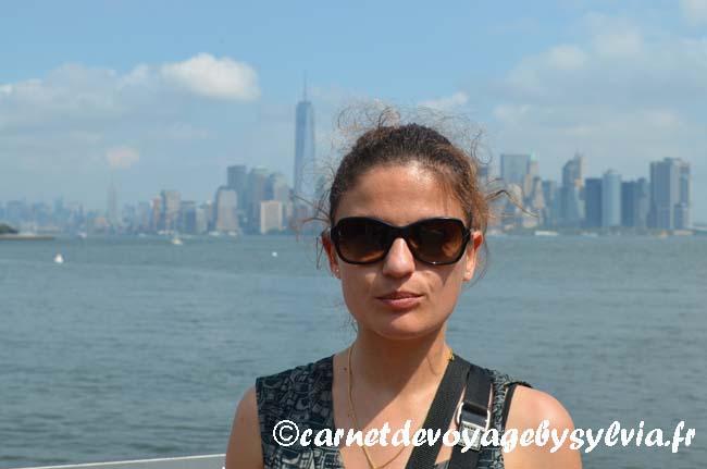 vue sur New York depuis l'île de la statue de la Liberté