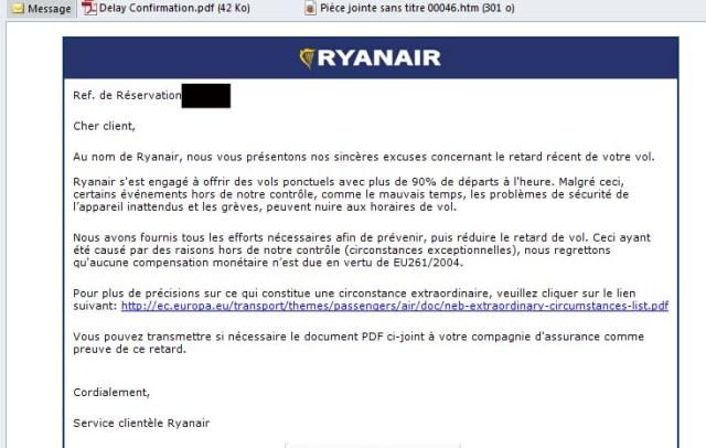 Ryanair - mail retard sans responsabilité