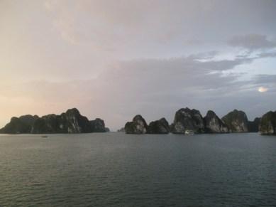 coucher de soleil Halong Bay