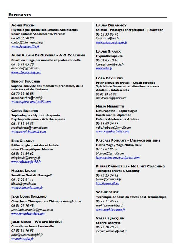 Liste des particpants