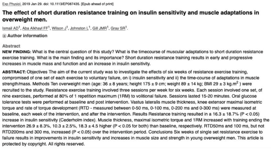 High intensity exercise reverses insulin resistance