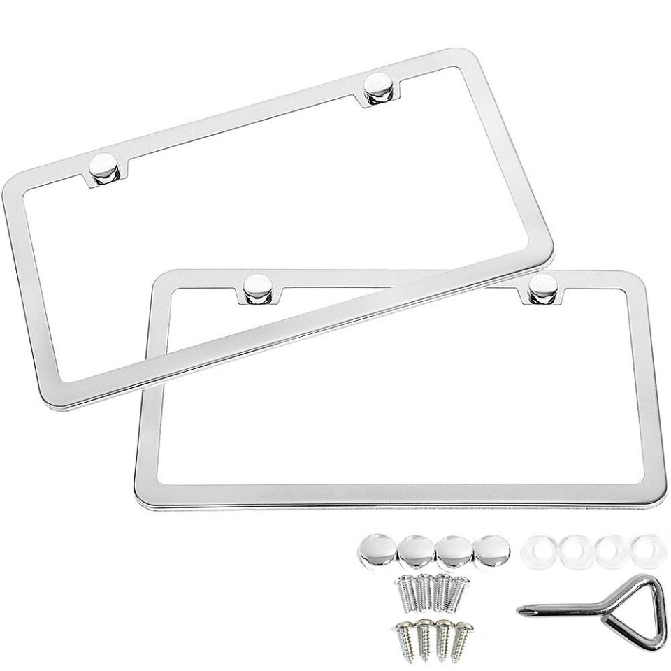 SunplusTrade-License-Plate-Frame-Chrome-Screw-Caps0