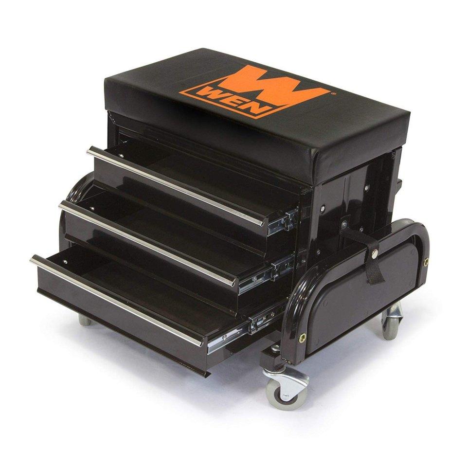 WEN 73015 Garage Glider Rolling Tool Chest Seat1
