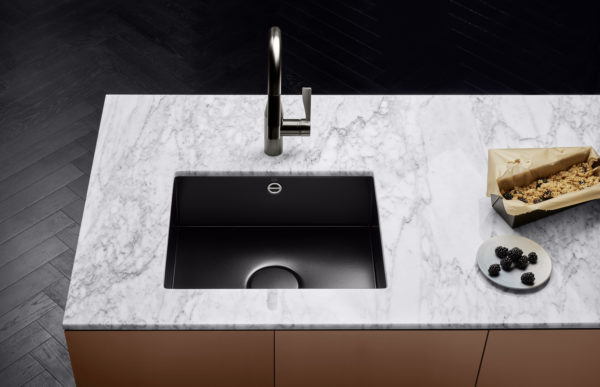 new kitchen sink light fixtures for sinks by dornbracht hollistic design of the water point marble worktop clearly contrasts with glazed in matt and sync fitting dark platinum finish