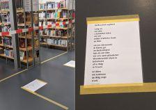 Corona macht kreativ: Um die Besucher der Denzlinger Mediathek auf Abstand zu halten, wurden ausgedruckte Gedichte an den Boden geklebt. Eines davon ist von mir....super Idee, finde ich!