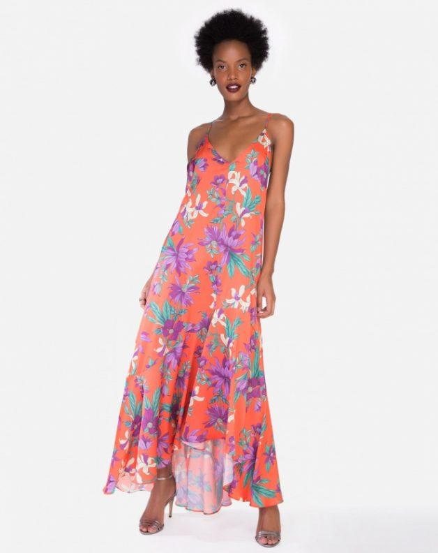 vestido longo floral