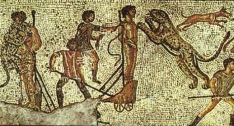 Mosaic of damnatio ad bestias from Zliten villa near Tripoli