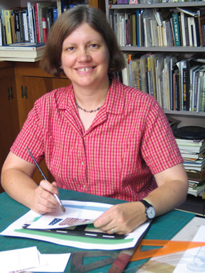 Book Artist Carol Barton in her studio