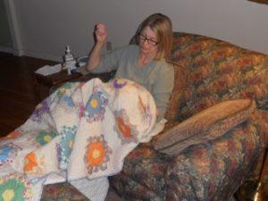 Lap quilting Grandma's Garden