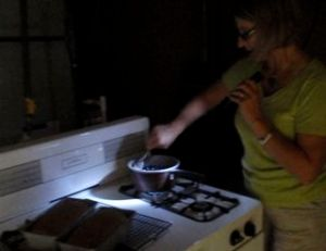 Cooking by flashlight.