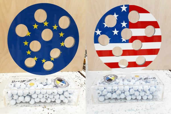 Front and back view of Carol's exquisite piece for the St. Moritz U.S. Celebrity Golf Cup