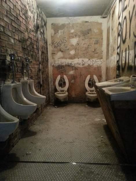 The toilet at CBGB club.