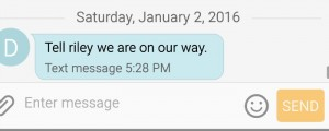 This is the text. The send time & date are the same as the time/date I got it. She died on Dec. 27.