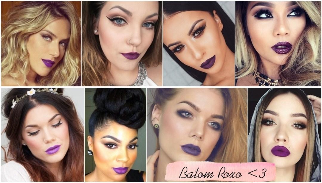 como usar batom roxo purple lipstick