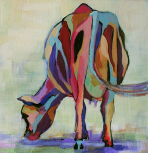 abstract painting of cow
