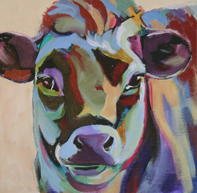 abstract painting of a cow portrait
