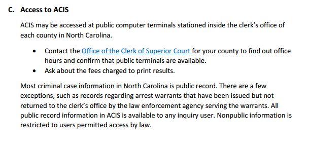 ACIS Public Inquiry Information North Carolina