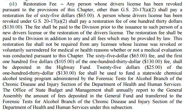 License Restoration Fees in North Carolina DMV 2016