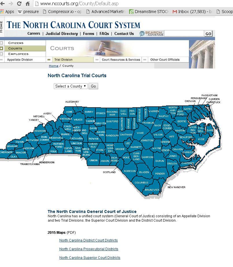 North Carolina Judicial Court Information 2016