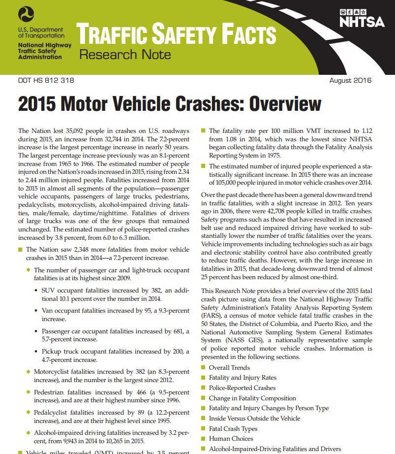 US DOT TRAFFIC SAFETY METRICS 2015