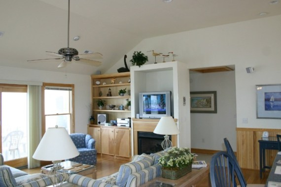 Custom built living room in Southern Shores NC