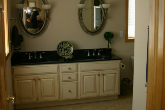 Custom interior design of elegant bathroom vanity