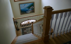 Custom interior design for stairs in OBX cottage