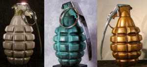Simon Raab and Carolina Bronze Grenade Sculptures