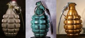 Simon Raab and Carolina Bronze Grenade Sculptures
