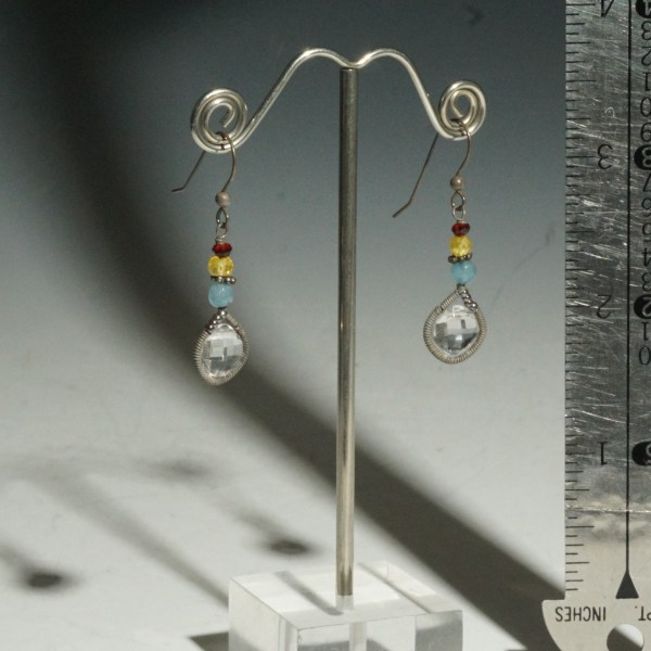 Earring Wrapped Dangle Rock Crystal
