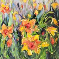 Sally Sutton Daffodelic Oil 18X18 (S)