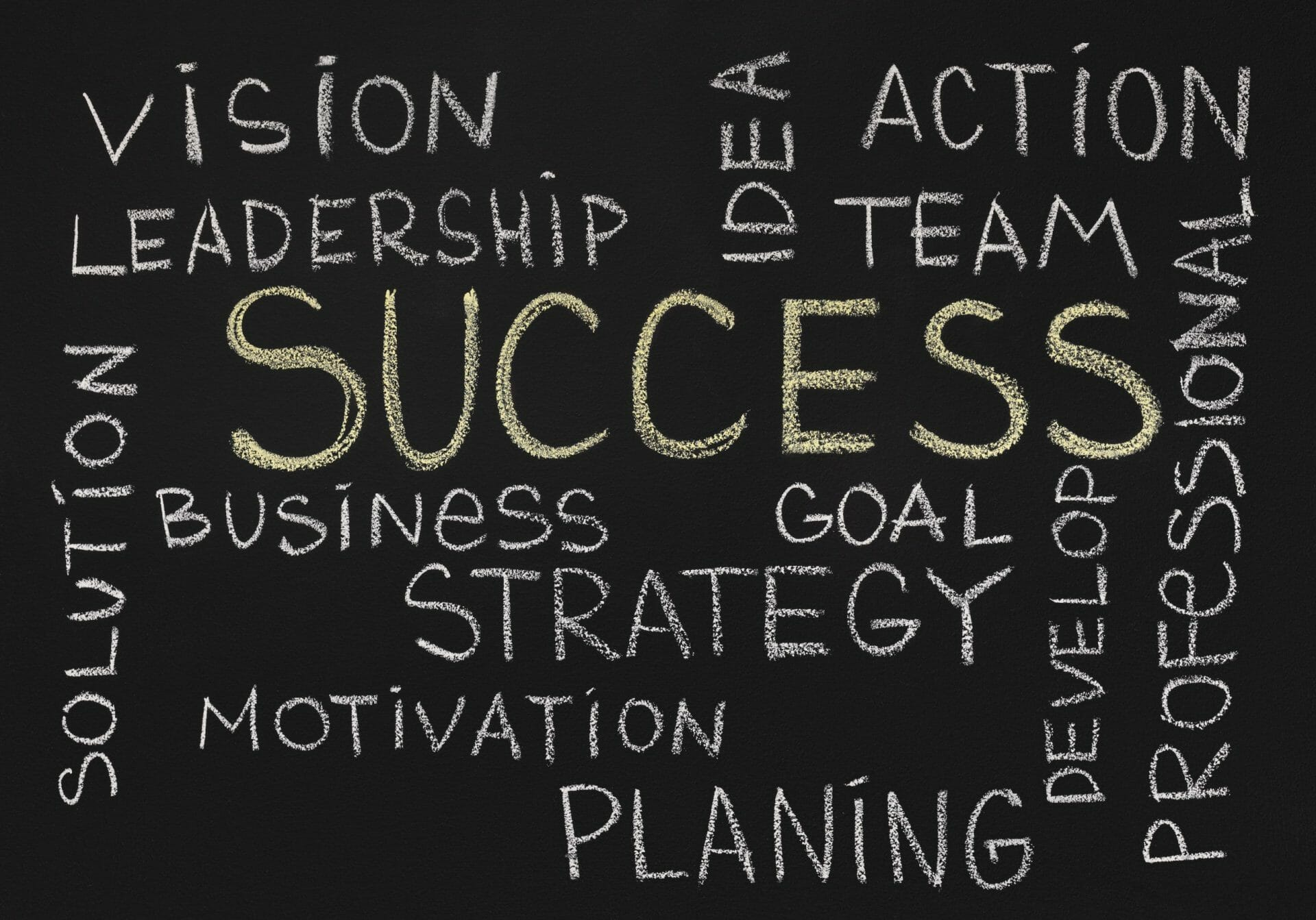 success concept chalk board