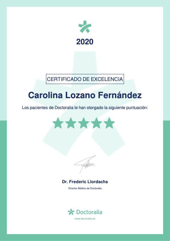 Certificado de Calidad Doctoralia a Carolina Lozano Fernández