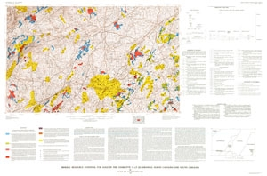 Mineral Resource Potential for Gold in Charlotte Map
