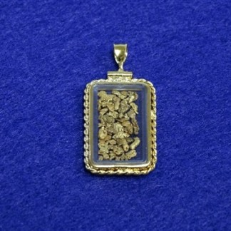 Large Rectangular Gold Plated Rope Locket