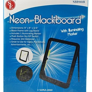 "9"" x 8"" x 3/4"" Neon Blackboard with One Illuminating Marker"