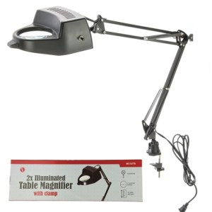 "2x-Swing Arm Magnifying Lamp with Clamp, 4"" Dia Glass Lens (Black)"