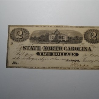 $2 - 1863 STATE OF NORTH CAROLINA -CR#131 - UNC.