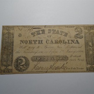 $2 - 1861 STATE OF NORTH CAROLINA -CR# 22 - CIR.