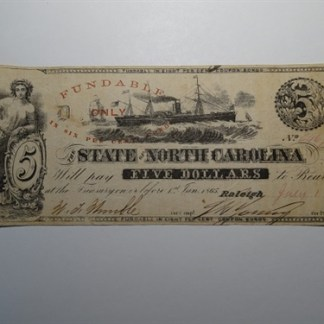 $5 - 1862 STATE OF NORTH CAROLINA -CR# 87